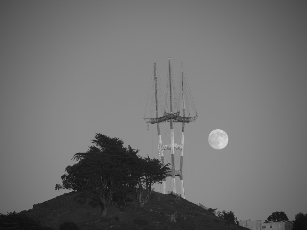 Grandview Park, the Sutro Tower, and the moon.