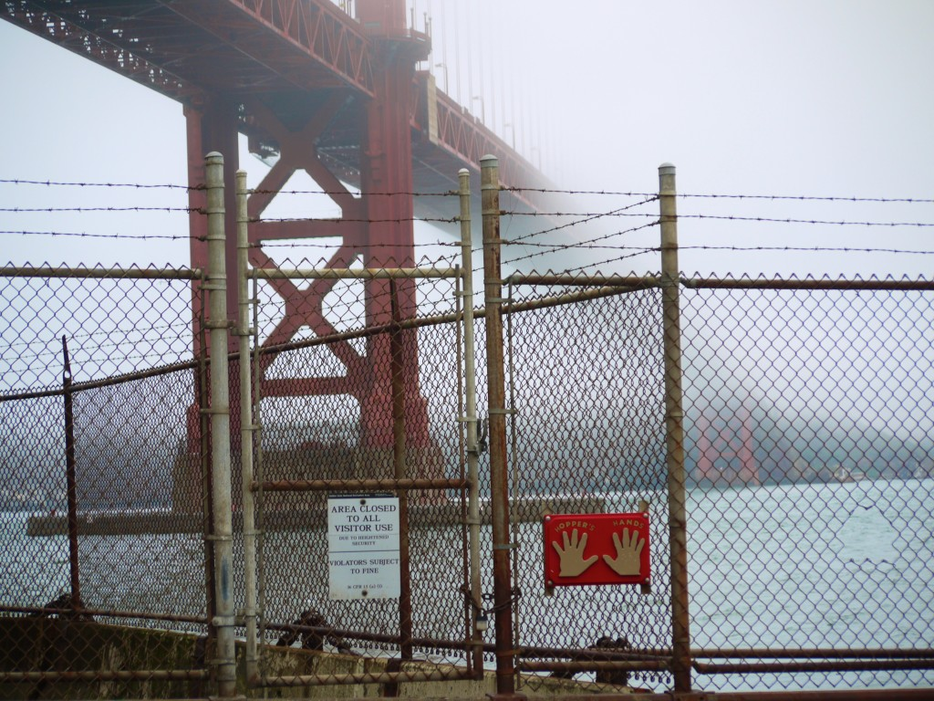 The fence at Fort Point, under the Golden Gate Bridge.