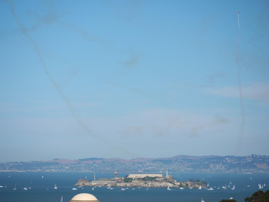Oracle Biplane over Alcatraz.