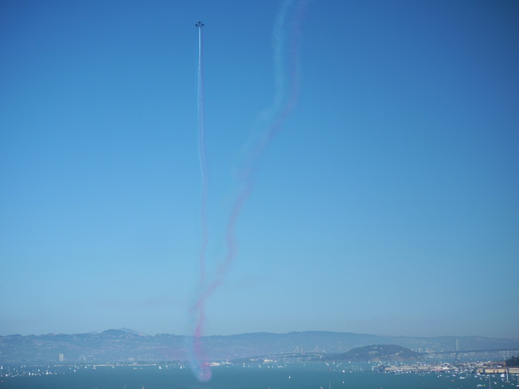 Aerobatics team over San Francisco Bay.