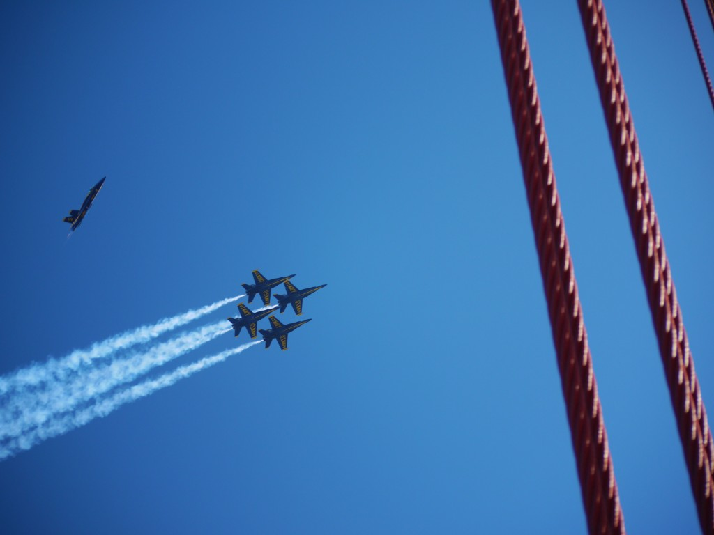 Blue Angels over the Golden Gate Bridge.