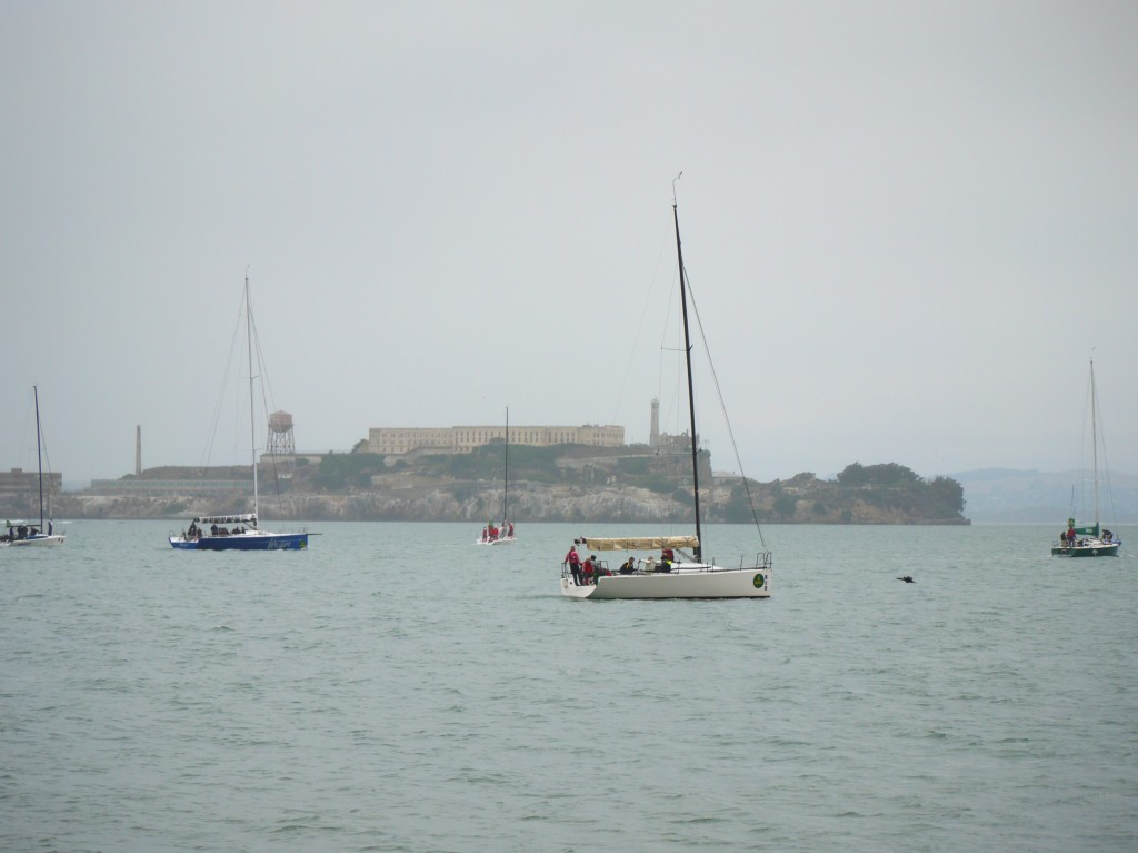 Regatta in front of Alcatraz.