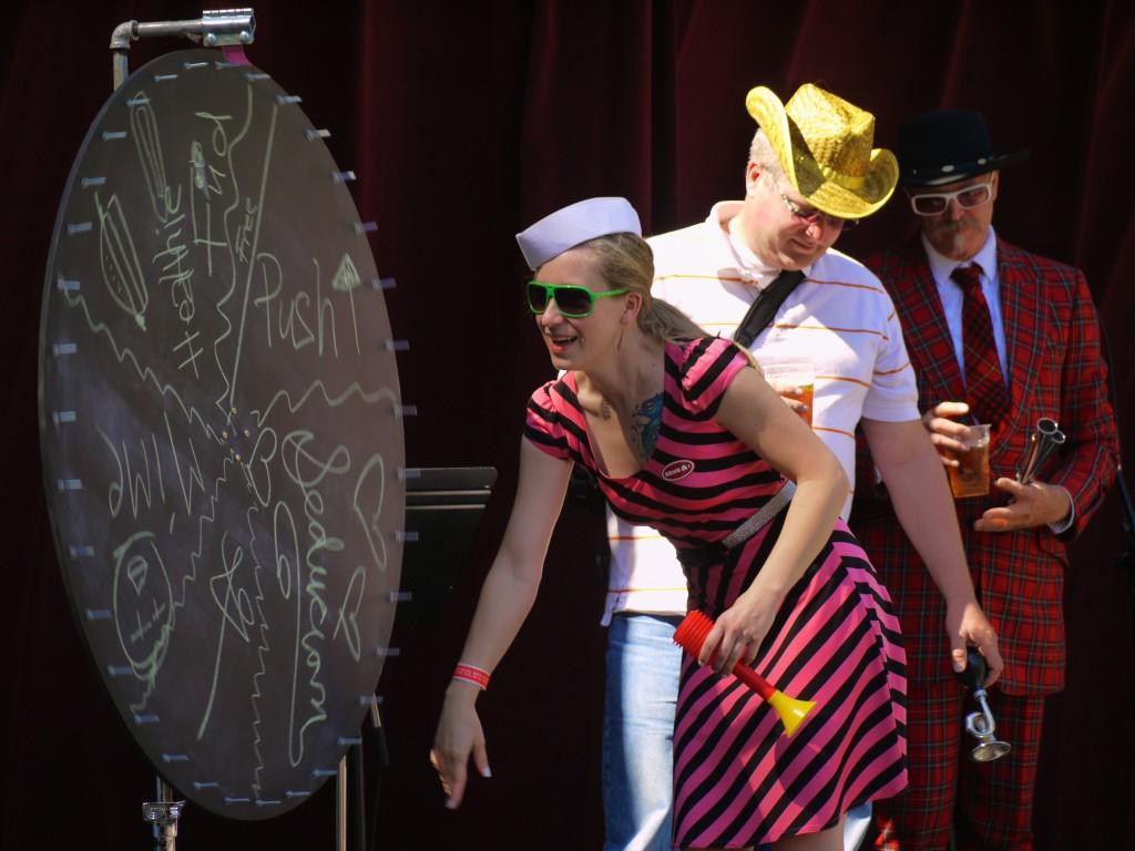 Tour de Fat contestants spin wheel