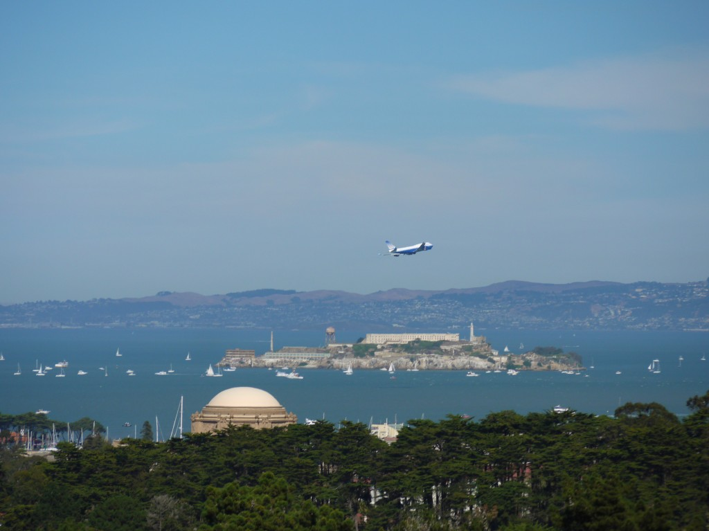 United Airlines 747 flying over Alcatraz.