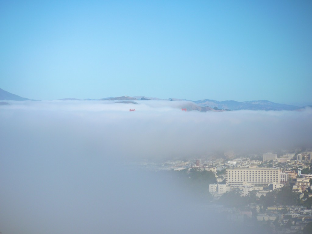 San Francisco under fog cover.